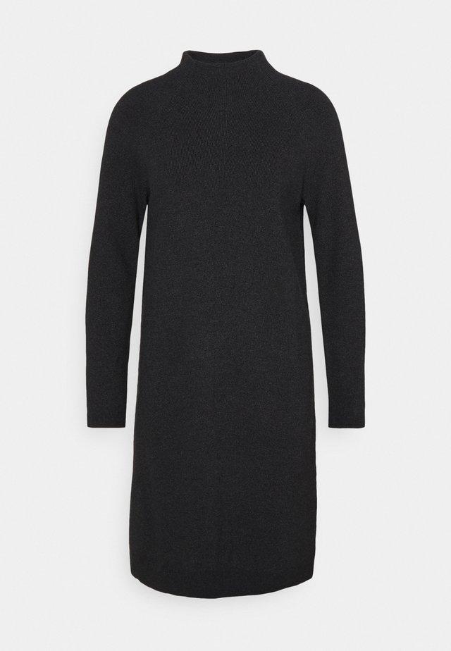 DRESS MIDI - Gebreide jurk - black melange