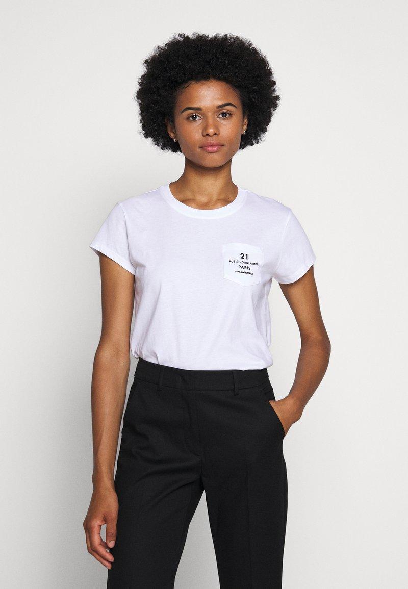 KARL LAGERFELD - ADDRESS LOGO POCKET - Print T-shirt - white