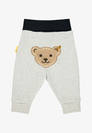 STEIFF COLLECTION JOGGINGHOSE MIT STREIFEN UND FLAUSCHIGEM TEDDY - Tracksuit bottoms - quarry