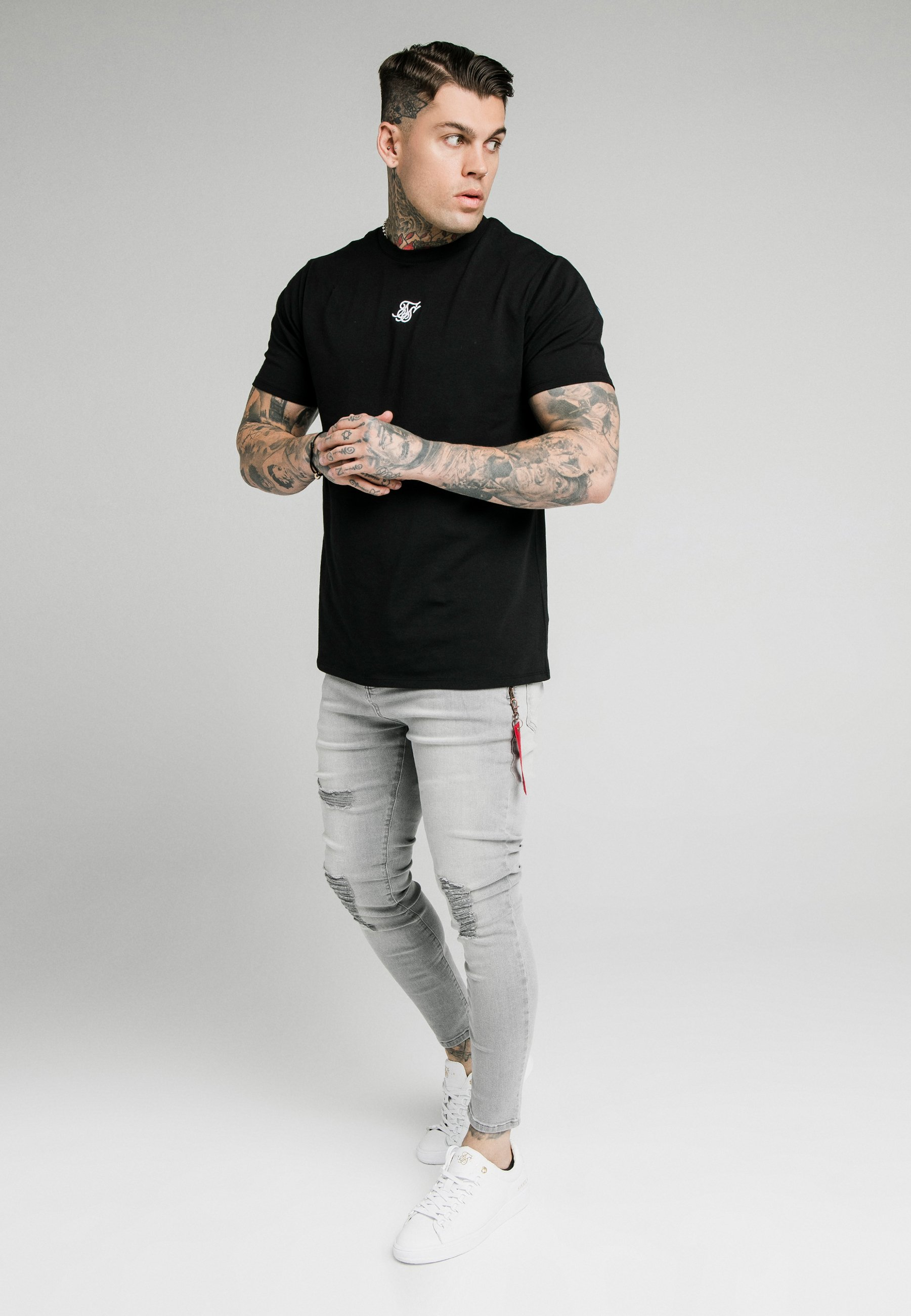 Siksilk Distressed With Zip Detail - Jeans Skinny Fit Grey/grå