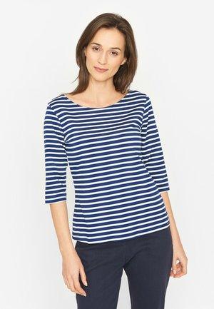 Long sleeved top - twilight blue white