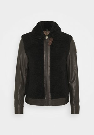 GRIZZLY JACKET - Leather jacket - dark brown