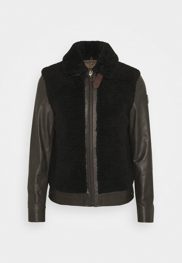GRIZZLY JACKET - Leren jas - dark brown