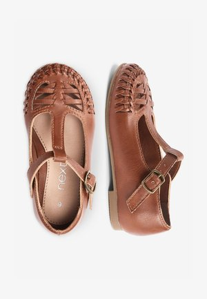 WHITE WOVEN T-BAR SHOES (YOUNGER) - Chaussures premiers pas - brown