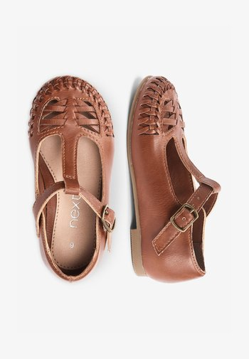 WHITE WOVEN T-BAR SHOES (YOUNGER) - Dětské boty - brown
