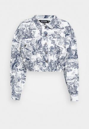 DELFT PRINT STRETCH CROPPED JACKET - Denim jacket - blue