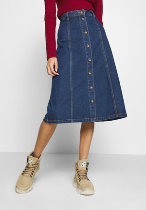 OBJSINYA SKIRT OXI  - A-line skirt - medium blue denim