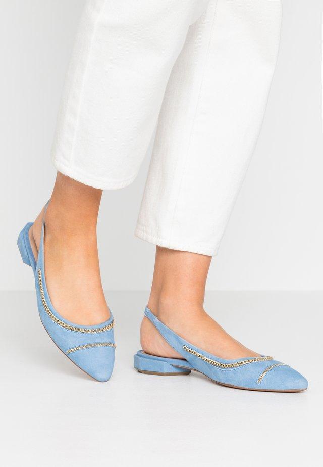 Baleríny s otevřenou patou - jeans