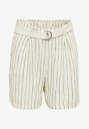 MIT LEINEN: GESTREIFTE PAPERBAG-BERMUDA - Shorts - sand