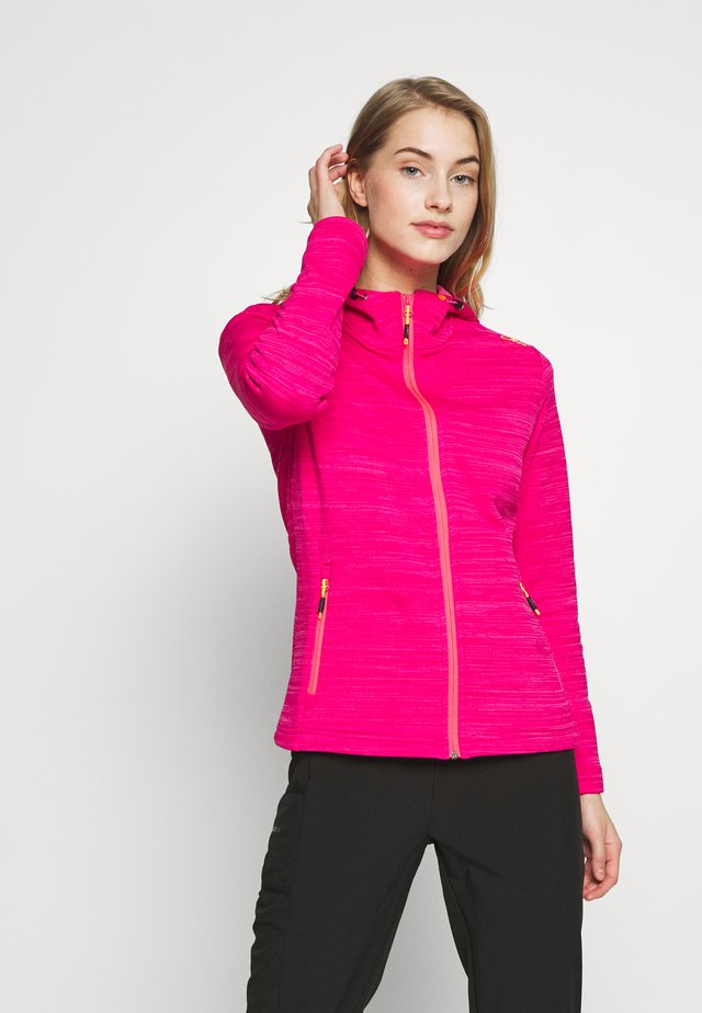 WOMAN JACKET FIX HOOD - Fleecová bunda - gloss melange