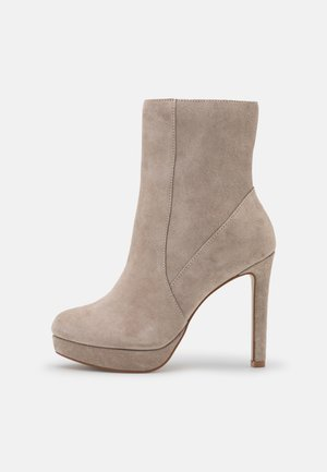 LEATHER  - High heeled ankle boots - taupe