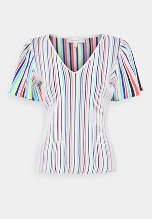 STRIPED FLUTTER SLEEVE - T-Shirt print - white/multi