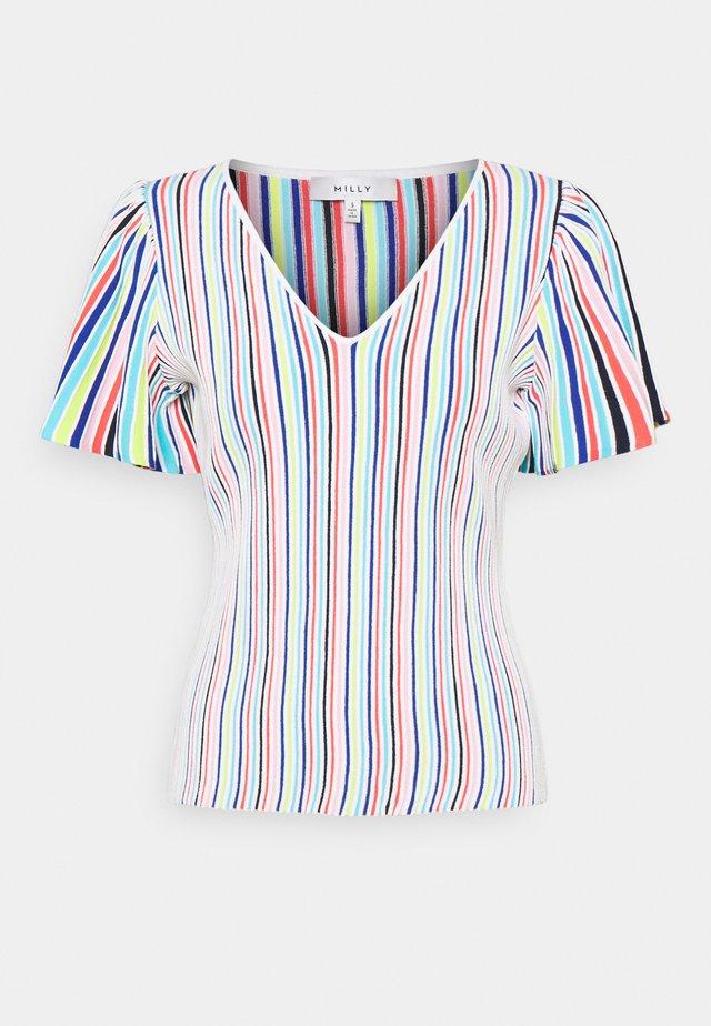 STRIPED FLUTTER SLEEVE - Print T-shirt - white/multi
