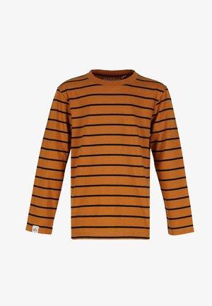 STRIPED - Long sleeved top - rust-black