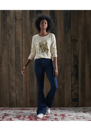 DETROIT GRAPHIC - Long sleeved top - cream/gold