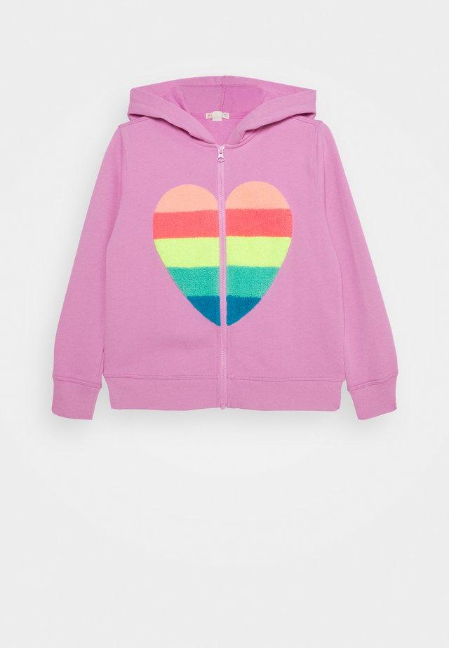BIG HEART STRIPED HOODIE - Zip-up hoodie - pink