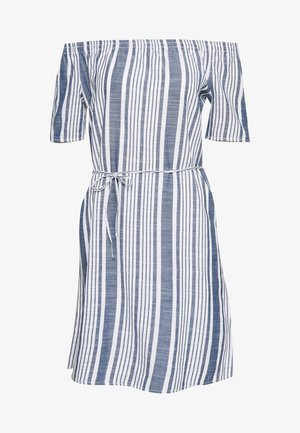 ONLLAVANA OFF SHOULD STRIPE - Day dress - cloud dancer/dark blue