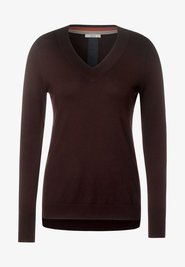 MIT V-AUSSCHNITT - Pullover - braun