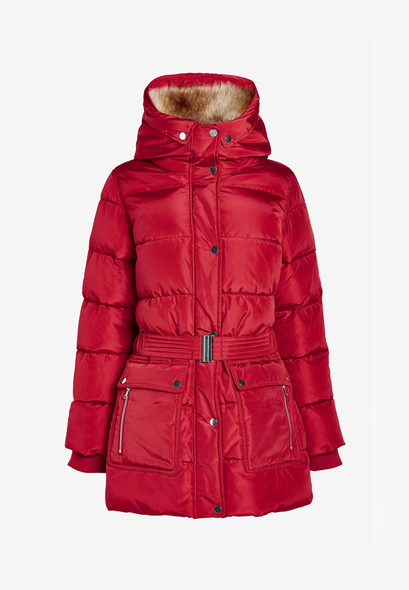 Next - BELTED PADDED - Winter coat - red