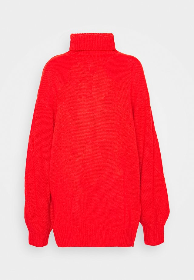 ROLL NECK CABLE SLEEVE JUMPER - Pullover - red