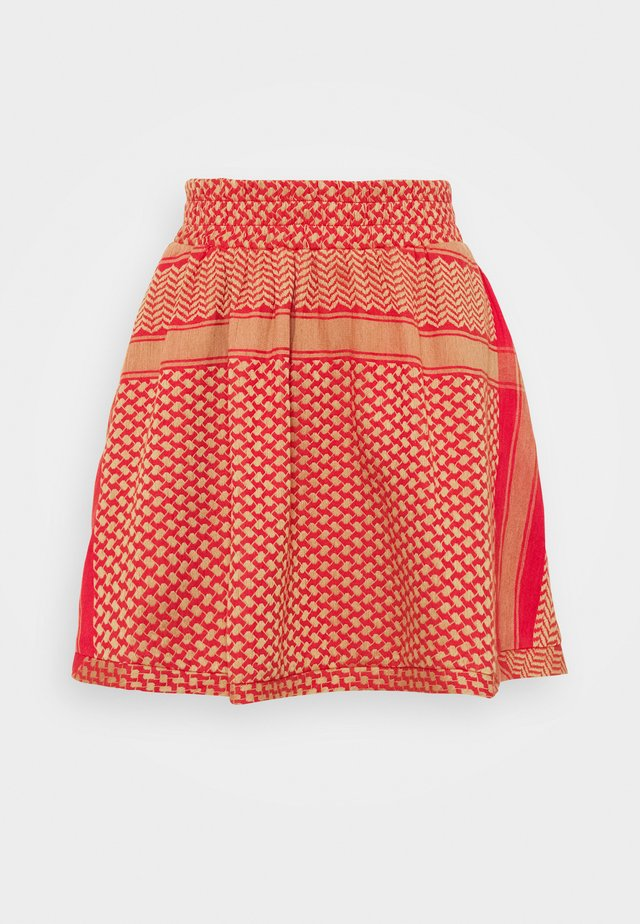 SKIRT - Minirok - camel/red