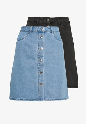 ONLFARRAH REG SKIRT 2 PACK - Spódnica trapezowa - light blue denim/black denim