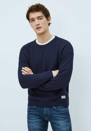 Stickad tröja - azul marino