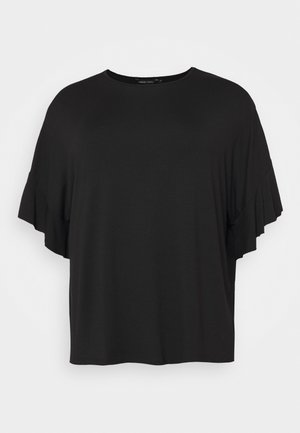 BOXY RUFFLE SLEEVE  - Basic T-shirt - black