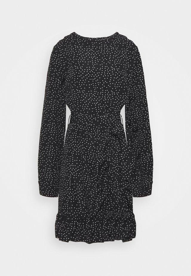 RUCHED SIDE TEA DRESS POLKA - Korte jurk - black