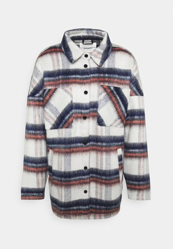 ONLJENNY SHORT SHACKET - Krótki płaszcz - light grey melange/black/blue/red