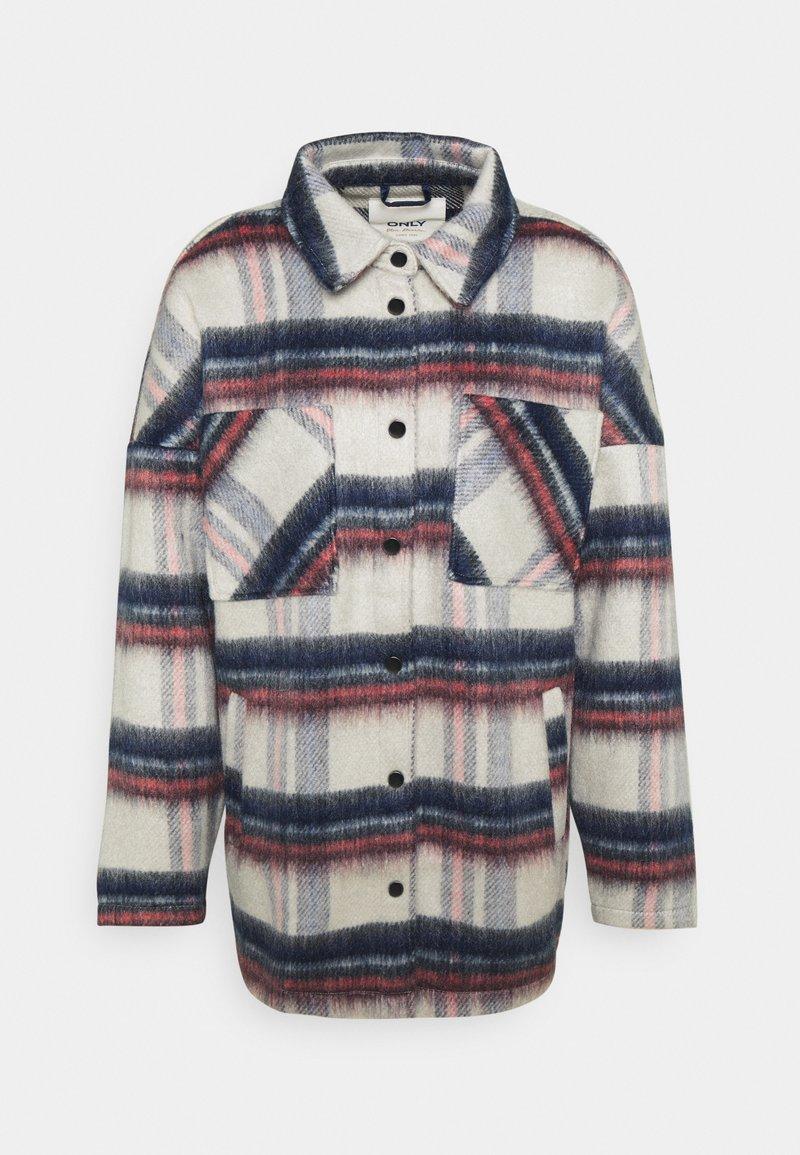 ONLY - ONLJENNY SHORT SHACKET - Short coat - light grey melange/black/blue/red