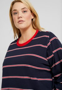 Urban Classics Curvy - LADIES SHORT DYED SKATE STRIPE - Long sleeved top - midnightnavy/red - 3