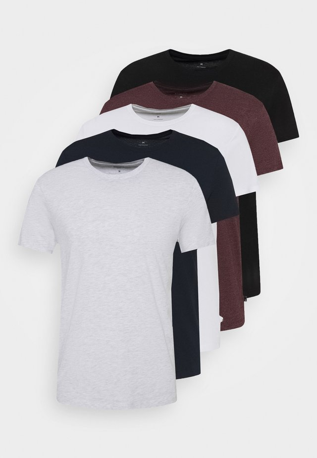 SHORT SLEEVE CREW 5 PACK - Basic T-shirt - black/white/navy/light grey marl/burgundy marl