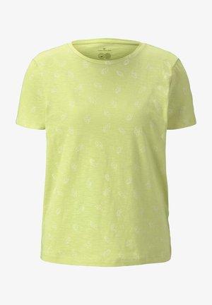 Print T-shirt - celery white leaves design