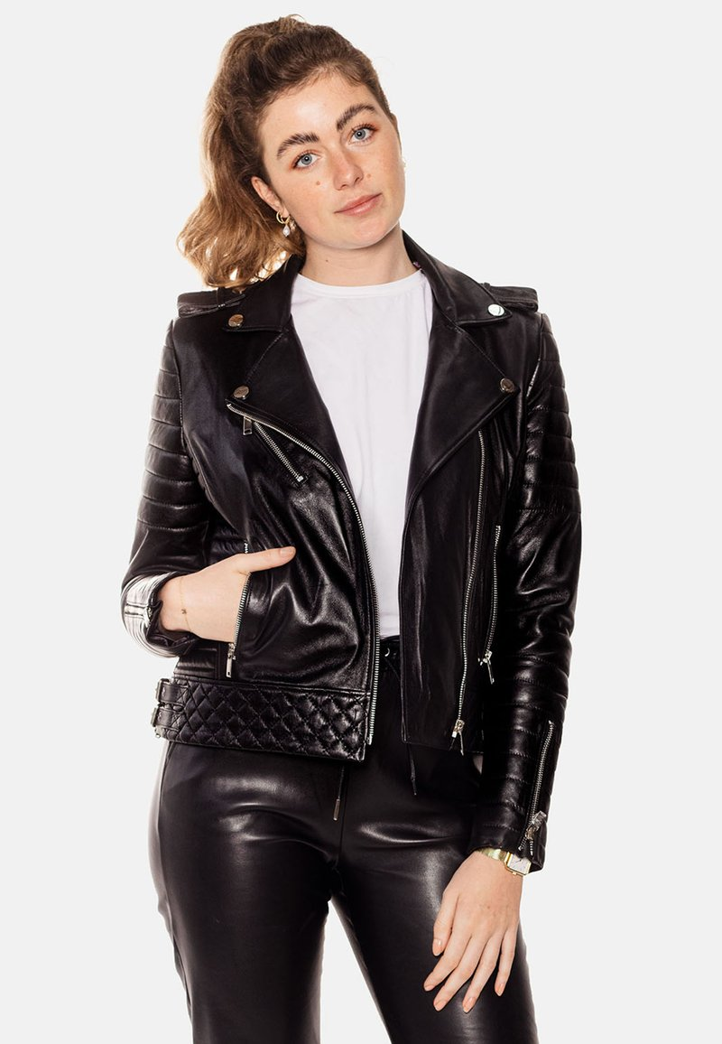 LEATHER HYPE - ALEX PERFECTO - Leather jacket - black with light silver accessories