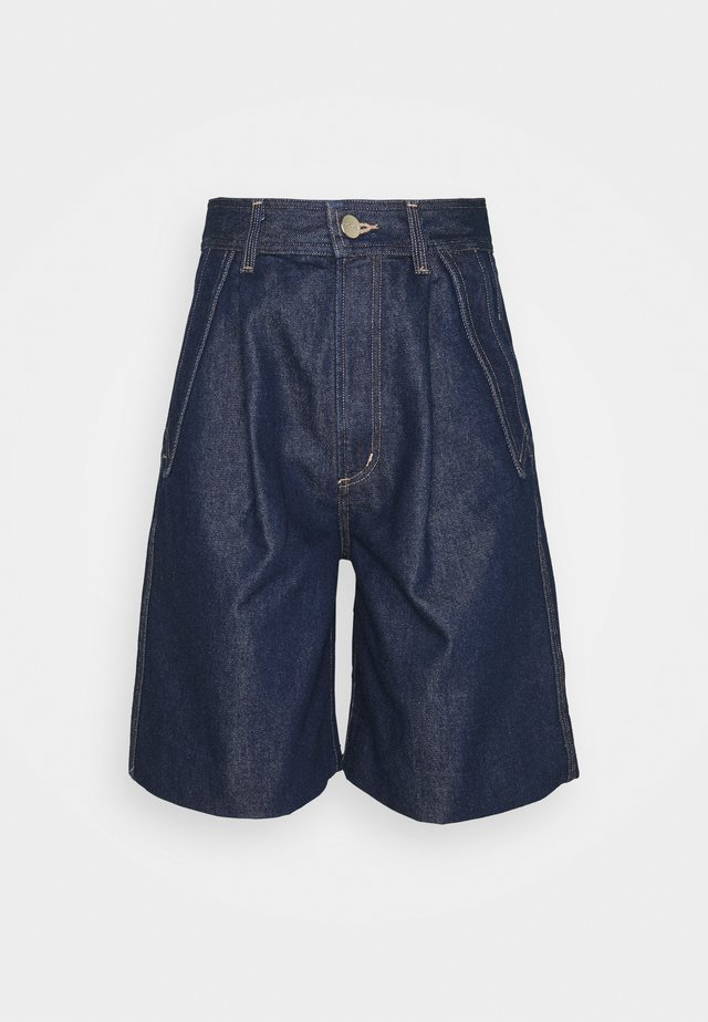 THE PIECED POCKET  - Denim shorts - dark blue