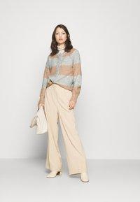 YAS - YASALLU STRIPE CARDIGAN - Cardigan - light grey melange/tawny brown - 1