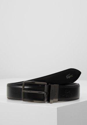 REVERSIBLE CURVED STITCHED EDGES - Belt - black