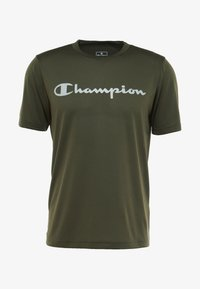 Champion - CREWNECK RUN - Print T-shirt - dark green