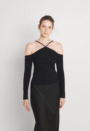 CALESTA COLD SHOULDER HALTER - Long sleeved top - black