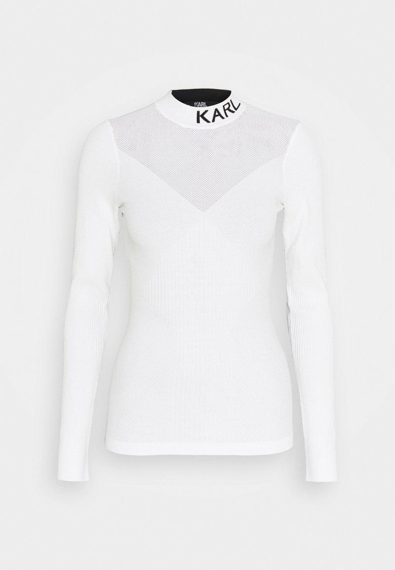 KARL LAGERFELD - POINTELLE LOGO  - Sweter - off-white