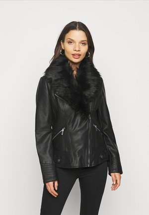 GLAM BIKER - Faux leather jacket - black