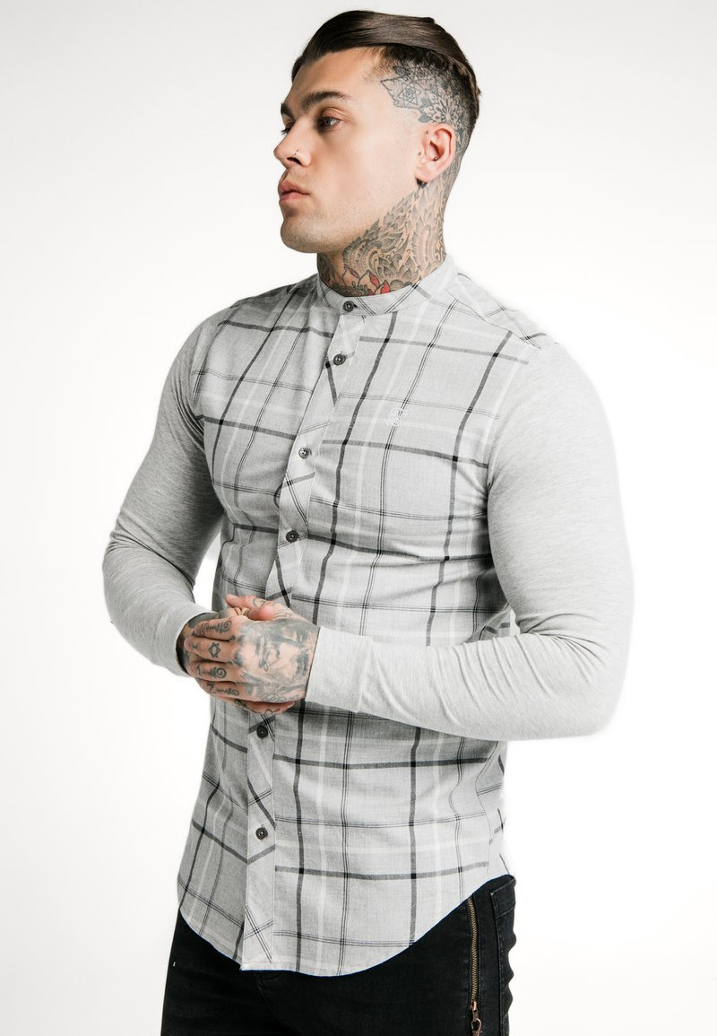 SIKSILK - CHECK GRANDAD  - Camicia - grey