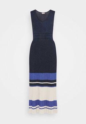 ABITO LUNGO IN MAGLIA PLISSE BLOCK  - Jumper dress - nero / corallo / nero