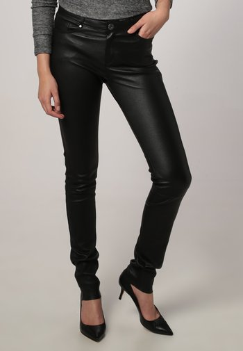 P ANDORA - Leather trousers - black
