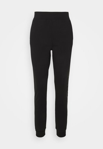RHINESTONE LOGO PANTS - Tracksuit bottoms - black