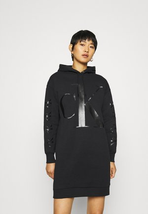 ECO LOGO HOODIE DRESS - Day dress - black