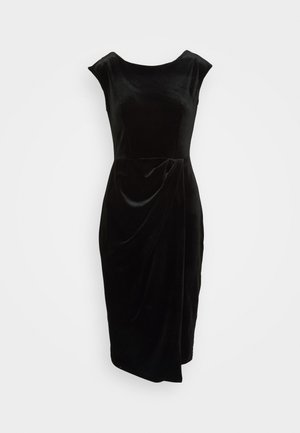 WRAP OVER DRESS - Shift dress - black