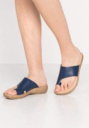 SLIDES - T-bar sandals - navy