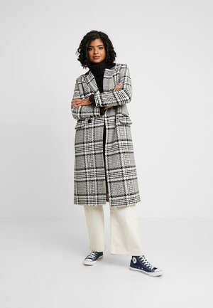 CHECK BLOCKED CITY COAT - Villakangastakki - black